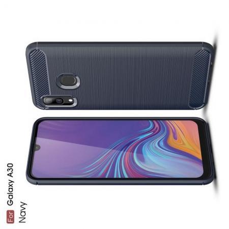Carbon Fibre Силиконовый матовый бампер чехол для amsung Galaxy A30 / A20 Синий