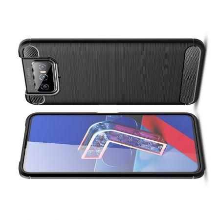 Carbon Fibre Силиконовый матовый бампер чехол для Asus Zenfone 7 ZS670KS Черный