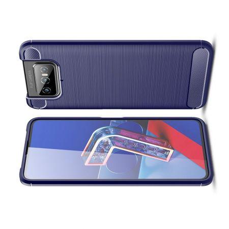 Carbon Fibre Силиконовый матовый бампер чехол для Asus Zenfone 7 ZS670KS Синий