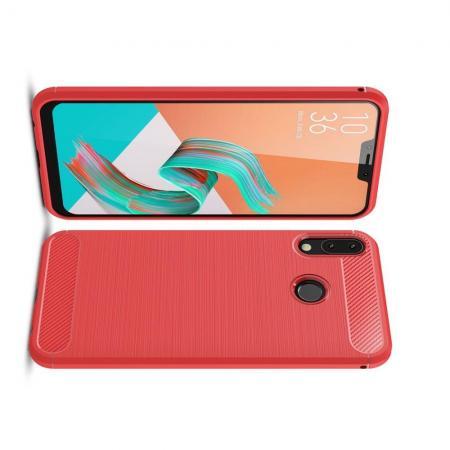 Carbon Fibre Силиконовый матовый бампер чехол для Asus Zenfone Max M2 ZB633KL Красный