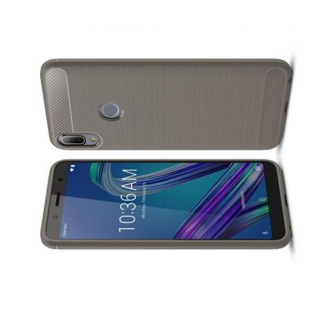 Carbon Fibre Силиконовый матовый бампер чехол для Asus Zenfone Max Pro M1 ZB602KL Серый