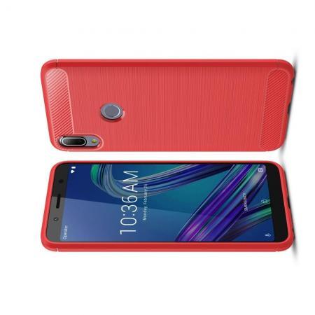 Carbon Fibre Силиконовый матовый бампер чехол для Asus Zenfone Max Pro M1 ZB602KL Красный