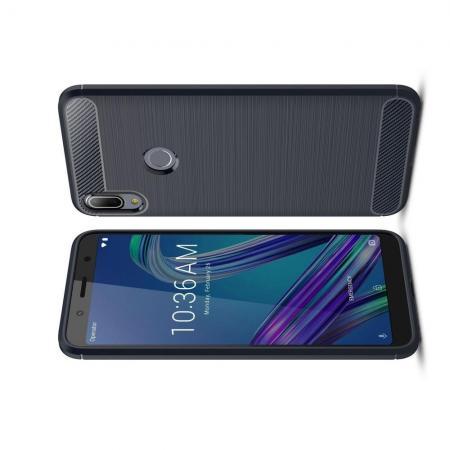 Carbon Fibre Силиконовый матовый бампер чехол для Asus Zenfone Max Pro M1 ZB602KL Синий
