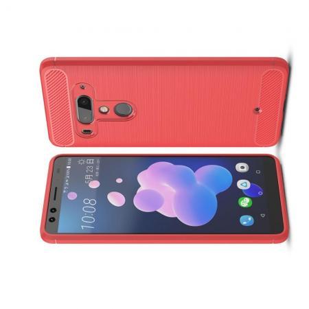 Carbon Fibre Силиконовый матовый бампер чехол для HTC U12+ Коралловый