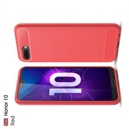Carbon Fibre Силиконовый матовый бампер чехол для Huawei Honor 10 Коралловый
