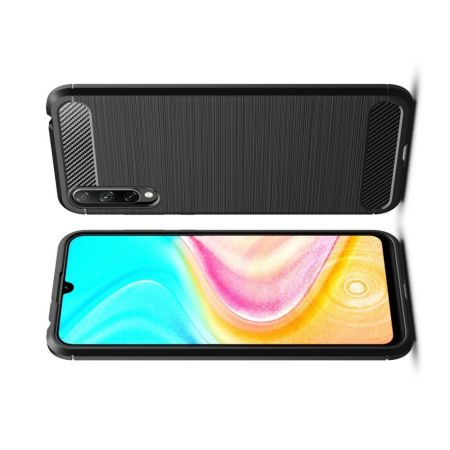 Carbon Fibre Силиконовый матовый бампер чехол для Huawei Honor 10i / Honor 20 Lite Черный