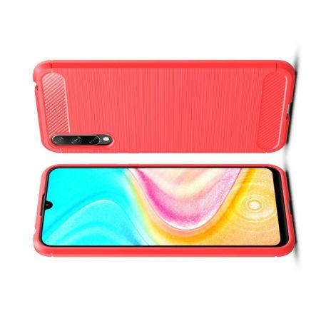 Carbon Fibre Силиконовый матовый бампер чехол для Huawei Honor 10i / Honor 20 Lite Красный