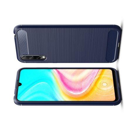 Carbon Fibre Силиконовый матовый бампер чехол для Huawei Honor 10i / Honor 20 Lite Синий
