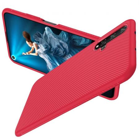 Carbon Fibre Силиконовый матовый бампер чехол для Huawei Honor 20 Красный