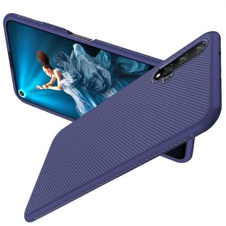 Carbon Fibre Силиконовый матовый бампер чехол для Huawei Honor 20 Синий