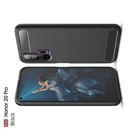 Carbon Fibre Силиконовый матовый бампер чехол для Huawei Honor 20 Pro Черный