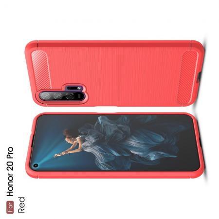 Carbon Fibre Силиконовый матовый бампер чехол для Huawei Honor 20 Pro Коралловый