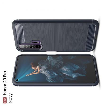 Carbon Fibre Силиконовый матовый бампер чехол для Huawei Honor 20 Pro Синий