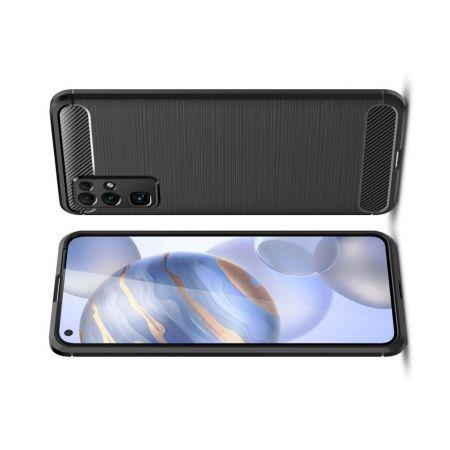Carbon Fibre Силиконовый матовый бампер чехол для Huawei Honor 30 Черный