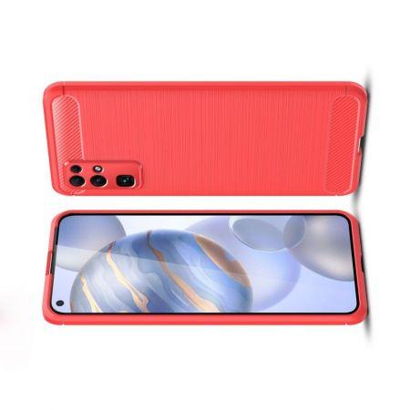 Carbon Fibre Силиконовый матовый бампер чехол для Huawei Honor 30 Красный