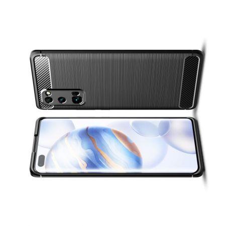 Carbon Fibre Силиконовый матовый бампер чехол для Huawei Honor 30 Pro Черный