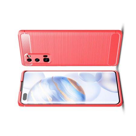 Carbon Fibre Силиконовый матовый бампер чехол для Huawei Honor 30 Pro Красный