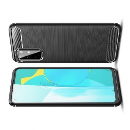 Carbon Fibre Силиконовый матовый бампер чехол для Huawei Honor 30S Черный
