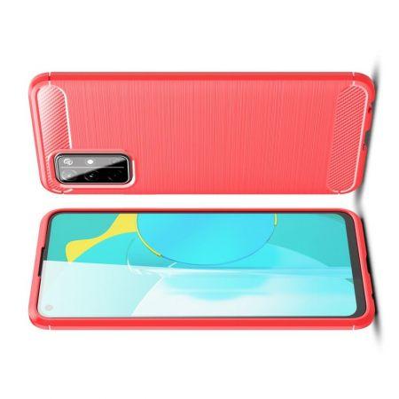 Carbon Fibre Силиконовый матовый бампер чехол для Huawei Honor 30S Красный