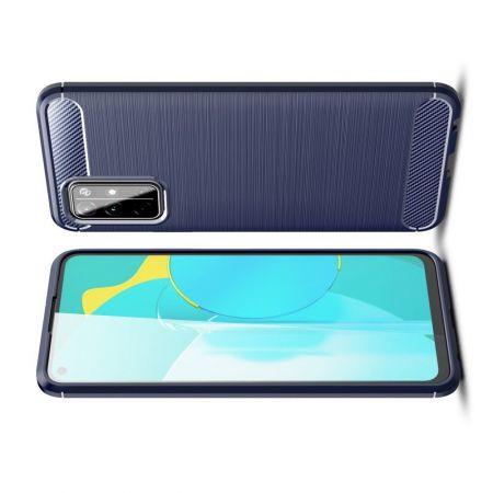 Carbon Fibre Силиконовый матовый бампер чехол для Huawei Honor 30S Синий