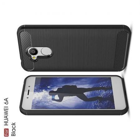 Carbon Fibre Силиконовый матовый бампер чехол для Huawei Honor 6A Черный