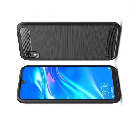 Carbon Fibre Силиконовый матовый бампер чехол для Huawei Honor 8S / Y5 2019 Черный