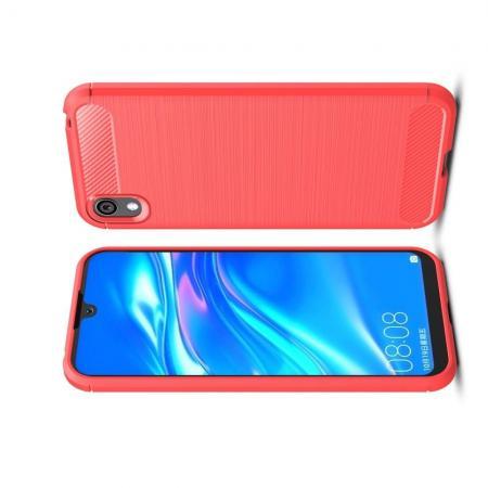 Carbon Fibre Силиконовый матовый бампер чехол для Huawei Honor 8S / Y5 2019 Коралловый