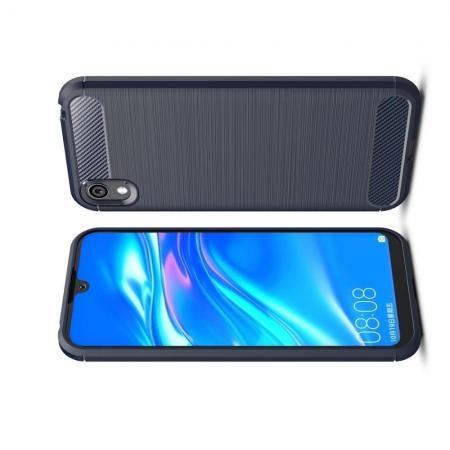 Carbon Fibre Силиконовый матовый бампер чехол для Huawei Honor 8S / Y5 2019 Синий