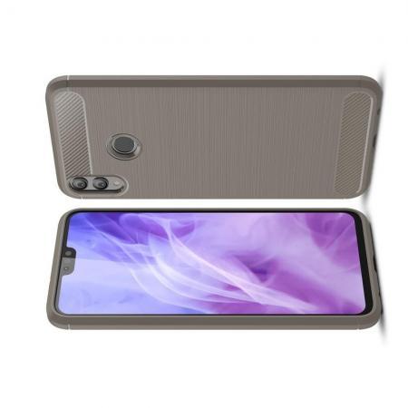 Carbon Fibre Силиконовый матовый бампер чехол для Huawei Honor 8X Серый