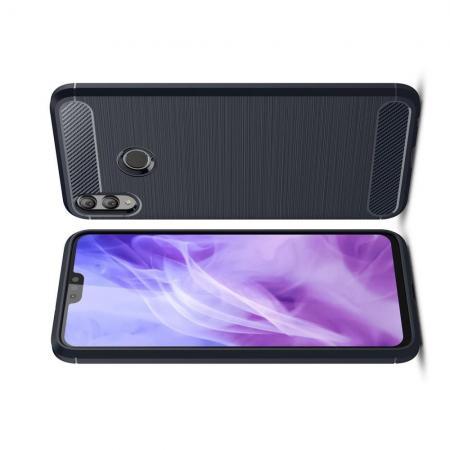 Carbon Fibre Силиконовый матовый бампер чехол для Huawei Honor 8X Синий