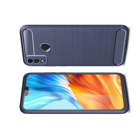 Carbon Fibre Силиконовый матовый бампер чехол для Huawei Honor 9X Lite Синий