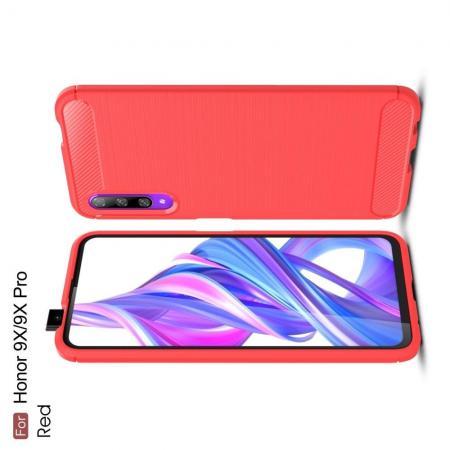 Carbon Fibre Силиконовый матовый бампер чехол для Huawei Honor 9X Pro / Honor 9X Красный
