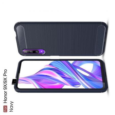 Carbon Fibre Силиконовый матовый бампер чехол для Huawei Honor 9X Pro / Honor 9X Синий