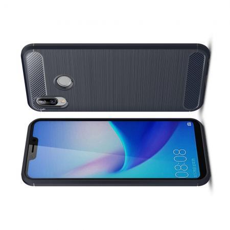 Carbon Fibre Силиконовый матовый бампер чехол для Huawei Honor Play Синий
