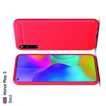 Carbon Fibre Силиконовый матовый бампер чехол для Huawei Honor Play 3 Красный