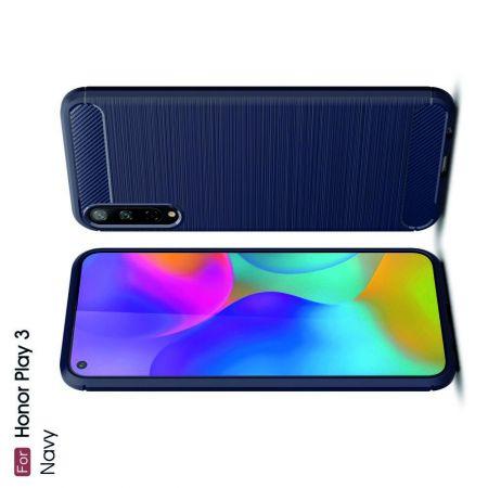 Carbon Fibre Силиконовый матовый бампер чехол для Huawei Honor Play 3 Синий