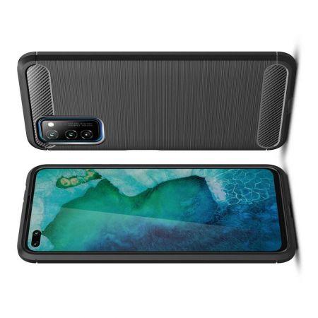 Carbon Fibre Силиконовый матовый бампер чехол для Huawei Honor View 30 Черный