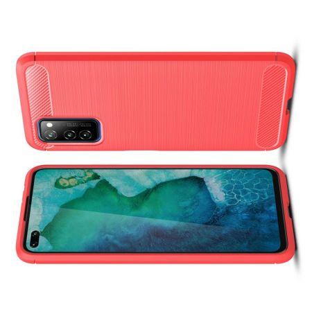 Carbon Fibre Силиконовый матовый бампер чехол для Huawei Honor View 30 Красный