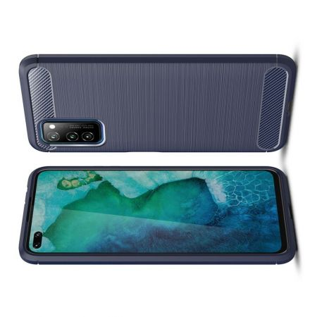 Carbon Fibre Силиконовый матовый бампер чехол для Huawei Honor View 30 / View 30 Pro / 30 Pro Синий