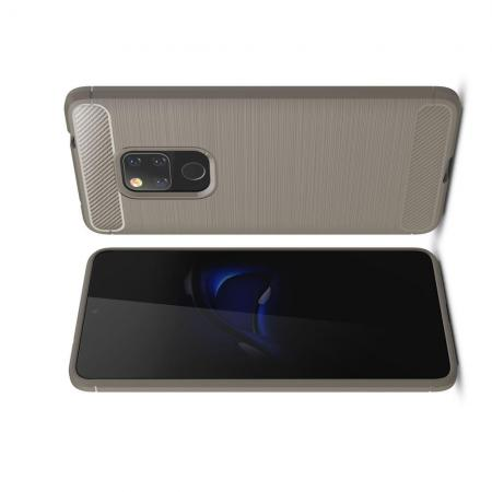 Carbon Fibre Силиконовый матовый бампер чехол для Huawei Mate 20 Серый