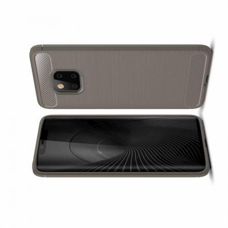 Carbon Fibre Силиконовый матовый бампер чехол для Huawei Mate 20 Pro Серый