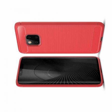 Carbon Fibre Силиконовый матовый бампер чехол для Huawei Mate 20 Pro Коралловый