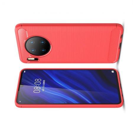 Carbon Fibre Силиконовый матовый бампер чехол для Huawei Mate 30 Красный