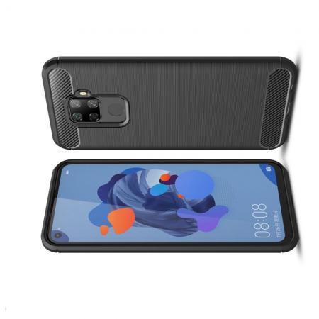 Carbon Fibre Силиконовый матовый бампер чехол для Huawei Mate 30 Lite Черный