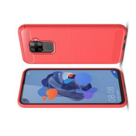 Carbon Fibre Силиконовый матовый бампер чехол для Huawei Mate 30 Lite Красный