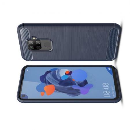 Carbon Fibre Силиконовый матовый бампер чехол для Huawei Mate 30 Lite Синий