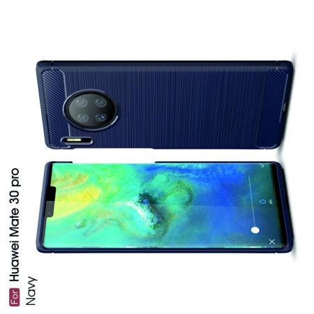 Carbon Fibre Силиконовый матовый бампер чехол для Huawei Mate 30 Pro Синий