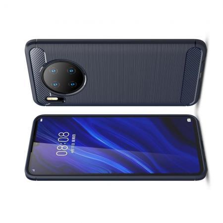 Carbon Fibre Силиконовый матовый бампер чехол для Huawei Mate 30 Синий