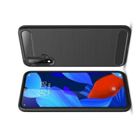Carbon Fibre Силиконовый матовый бампер чехол для Huawei Nova 5 Черный