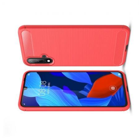 Carbon Fibre Силиконовый матовый бампер чехол для Huawei Nova 5 Коралловый